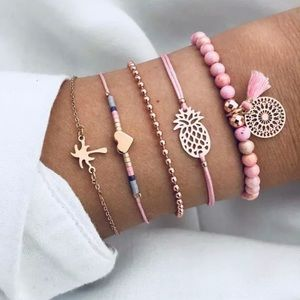 Set 5 bracelets tropical summer fun